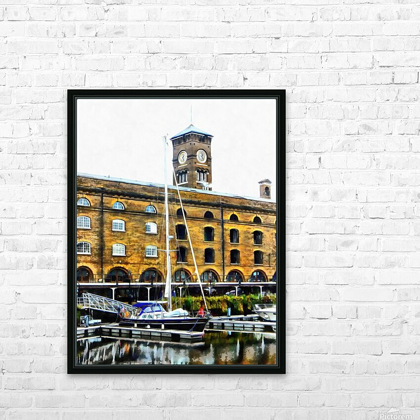 Boats in Front of Clock Tower St Katharine Docks HD Sublimation Metal print with Decorating Float Frame (BOX)