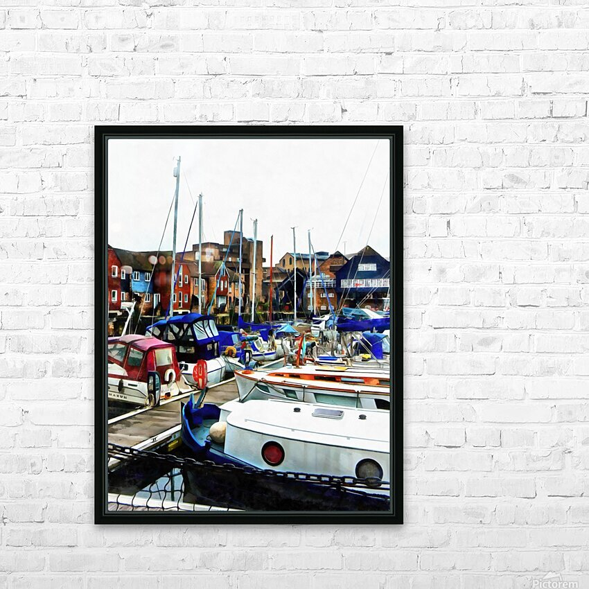 St Katharine Docks Boats 5 HD Sublimation Metal print with Decorating Float Frame (BOX)
