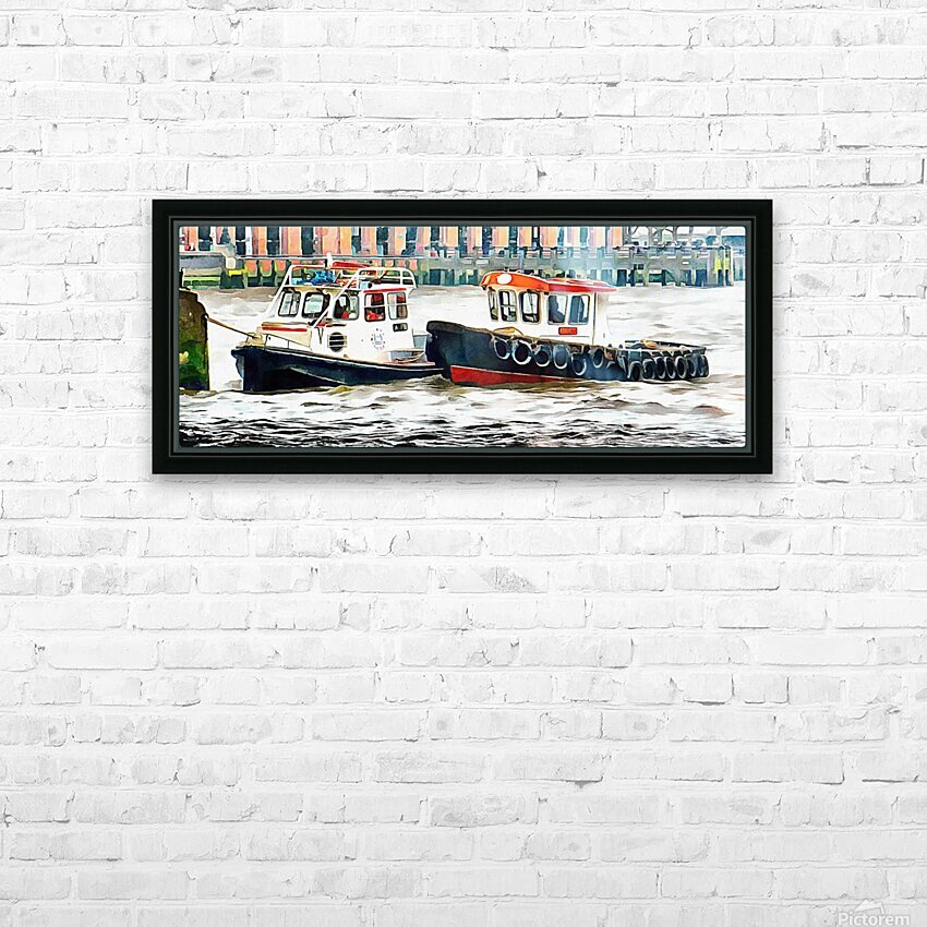 Two Boats Tied Up On The River Thames London HD Sublimation Metal print with Decorating Float Frame (BOX)