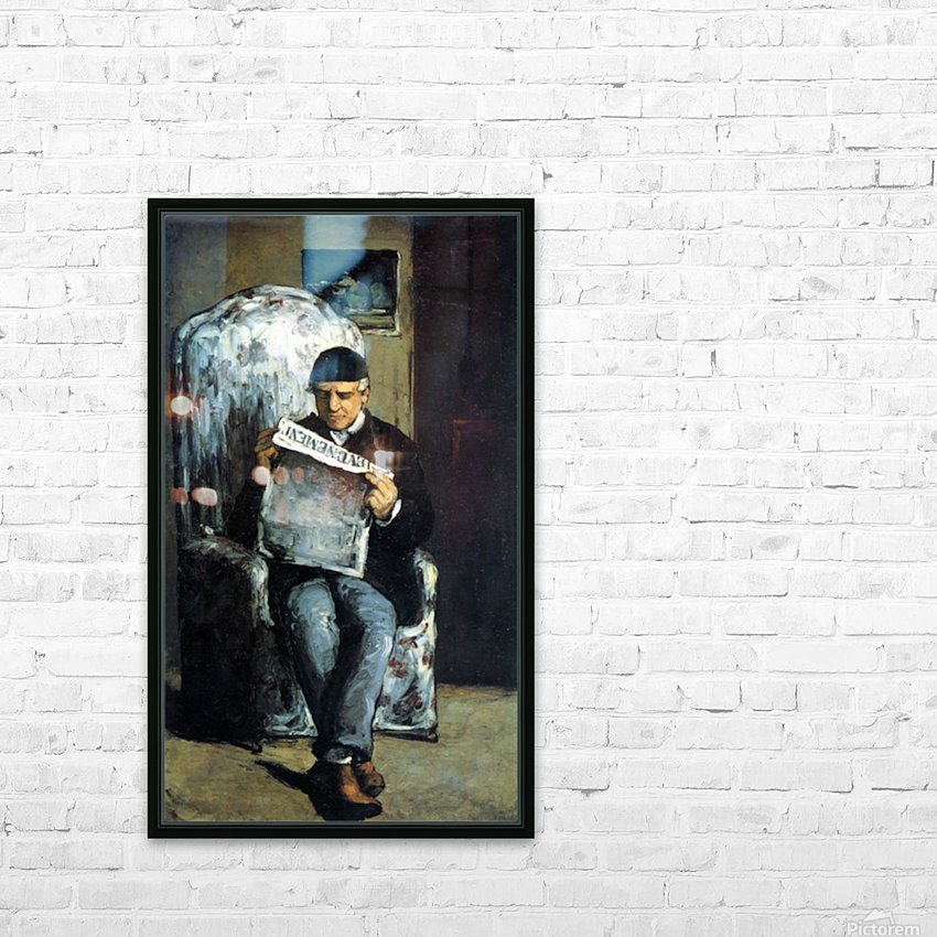 Portrait of Louis-Auguste Cezanne, the father of the artist, reading from L Evenement by Cezanne HD Sublimation Metal print with Decorating Float Frame (BOX)