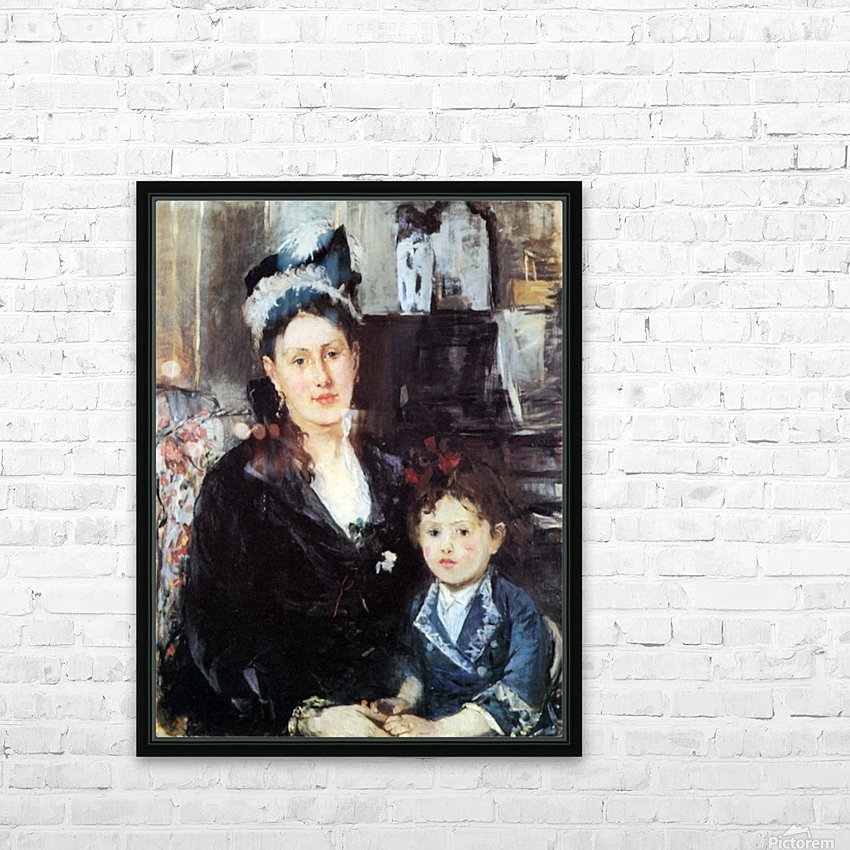 Portrait of Mme Boursier and Daughter by Morisot HD Sublimation Metal print with Decorating Float Frame (BOX)