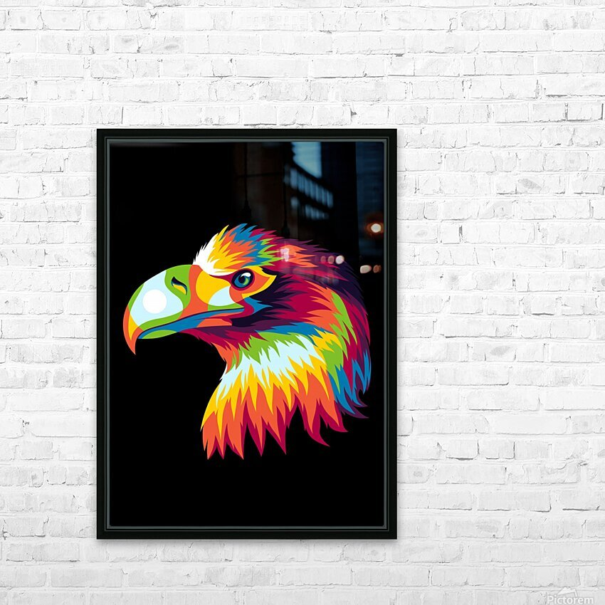 Bird of Prey in Colorful Pop Art Illustration HD Sublimation Metal print with Decorating Float Frame (BOX)
