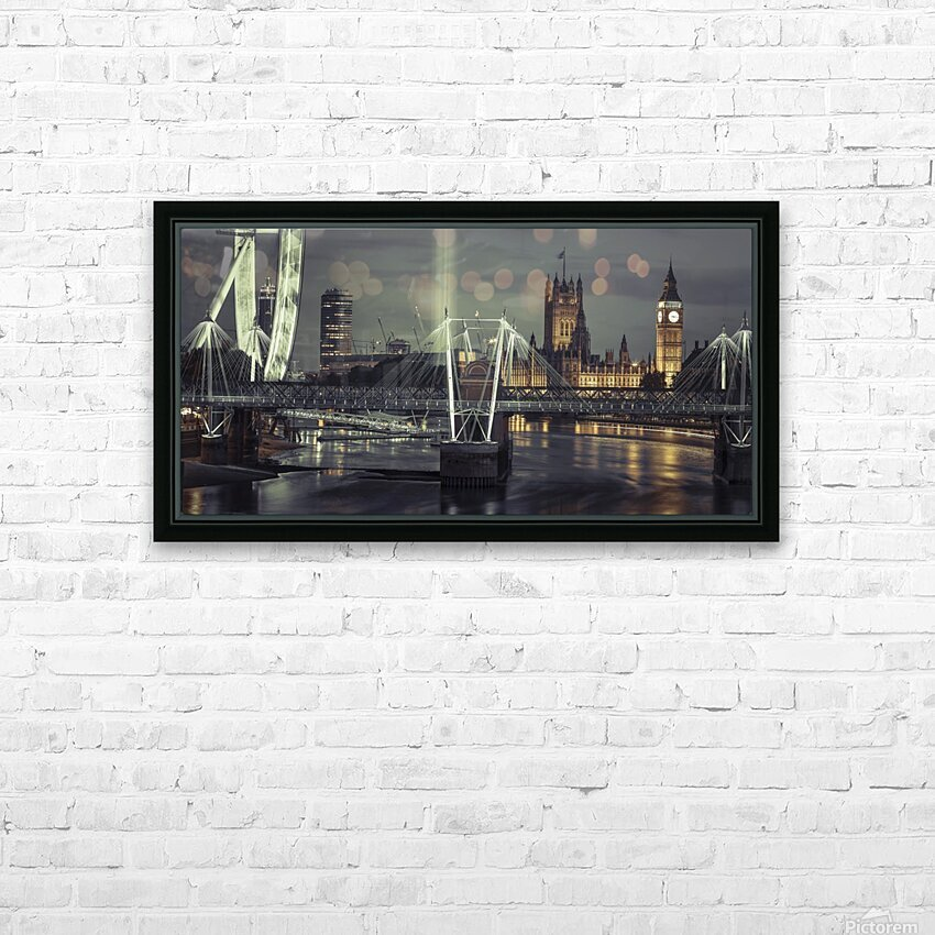 Night view of the London Eye, Golden Jubilee bridge and Westminster, London, UK HD Sublimation Metal print with Decorating Float Frame (BOX)