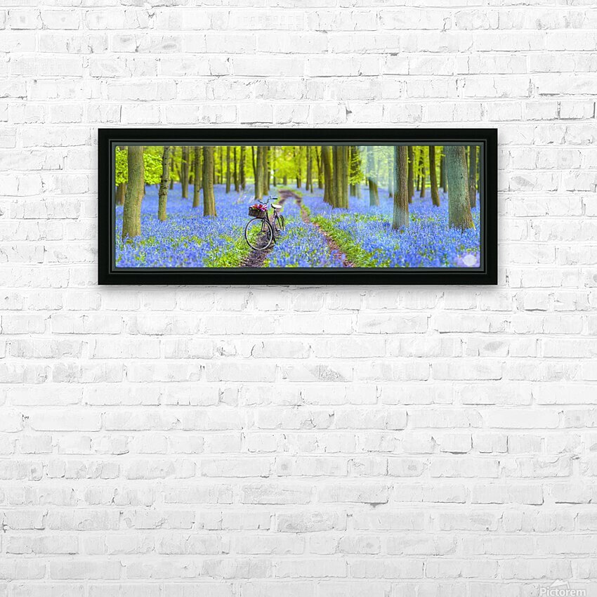 Bicycle in spring forest HD Sublimation Metal print with Decorating Float Frame (BOX)
