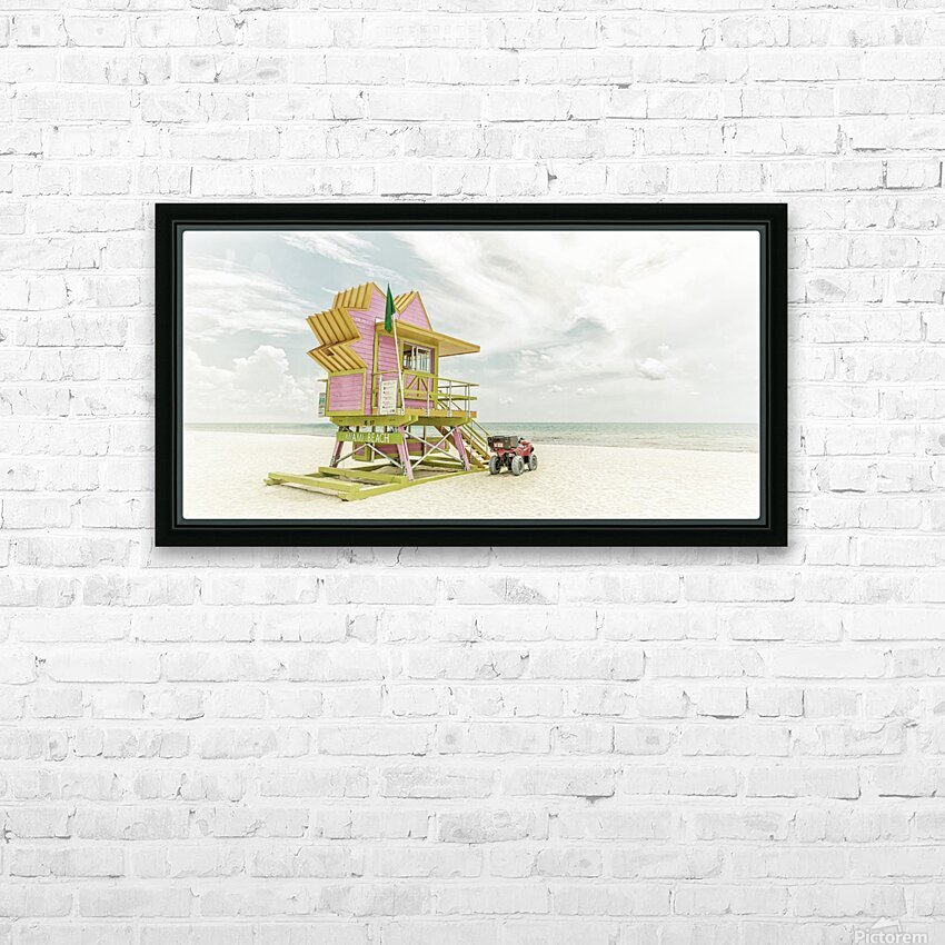 MIAMI BEACH Florida Flair | Vintage Panorama HD Sublimation Metal print with Decorating Float Frame (BOX)
