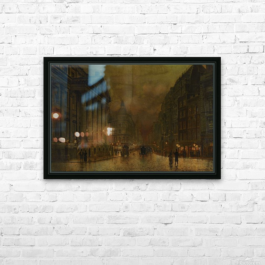 Moonlight in Victorian town HD Sublimation Metal print with Decorating Float Frame (BOX)