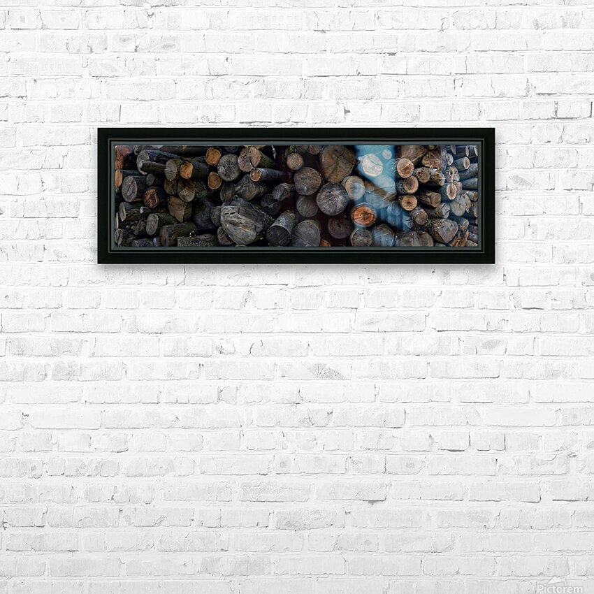 Log Pile HD Sublimation Metal print with Decorating Float Frame (BOX)