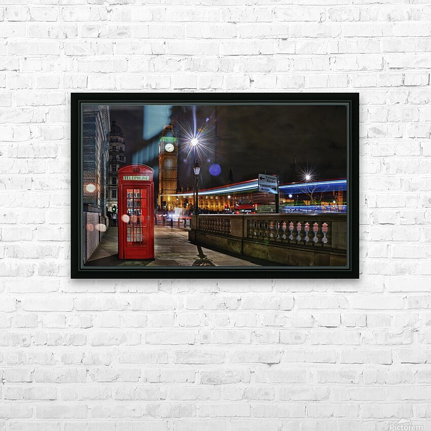 Red Phone Box HD Sublimation Metal print with Decorating Float Frame (BOX)