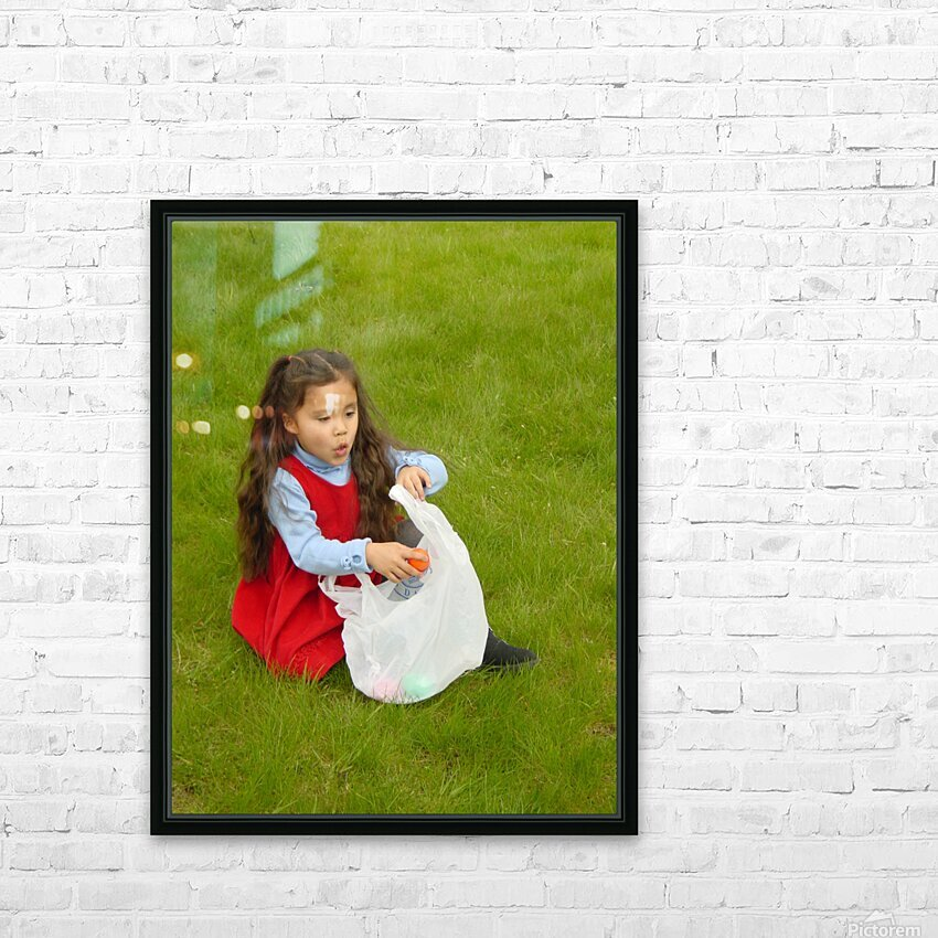 Easter Egg Hunt Girl HD Sublimation Metal print with Decorating Float Frame (BOX)