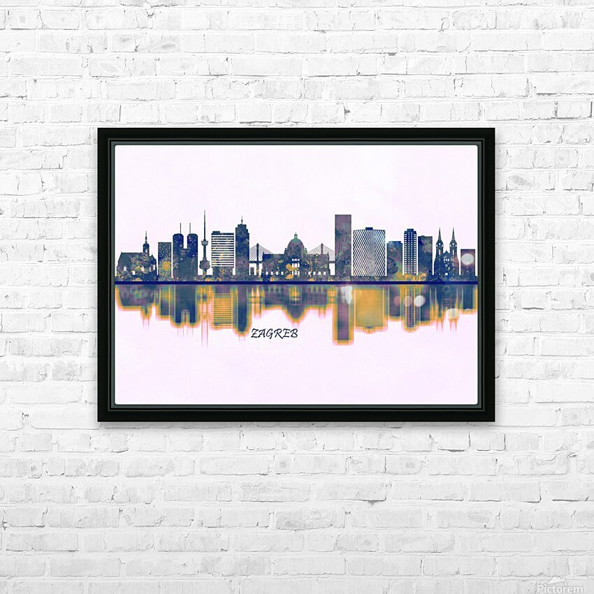 Zagreb Skyline HD Sublimation Metal print with Decorating Float Frame (BOX)
