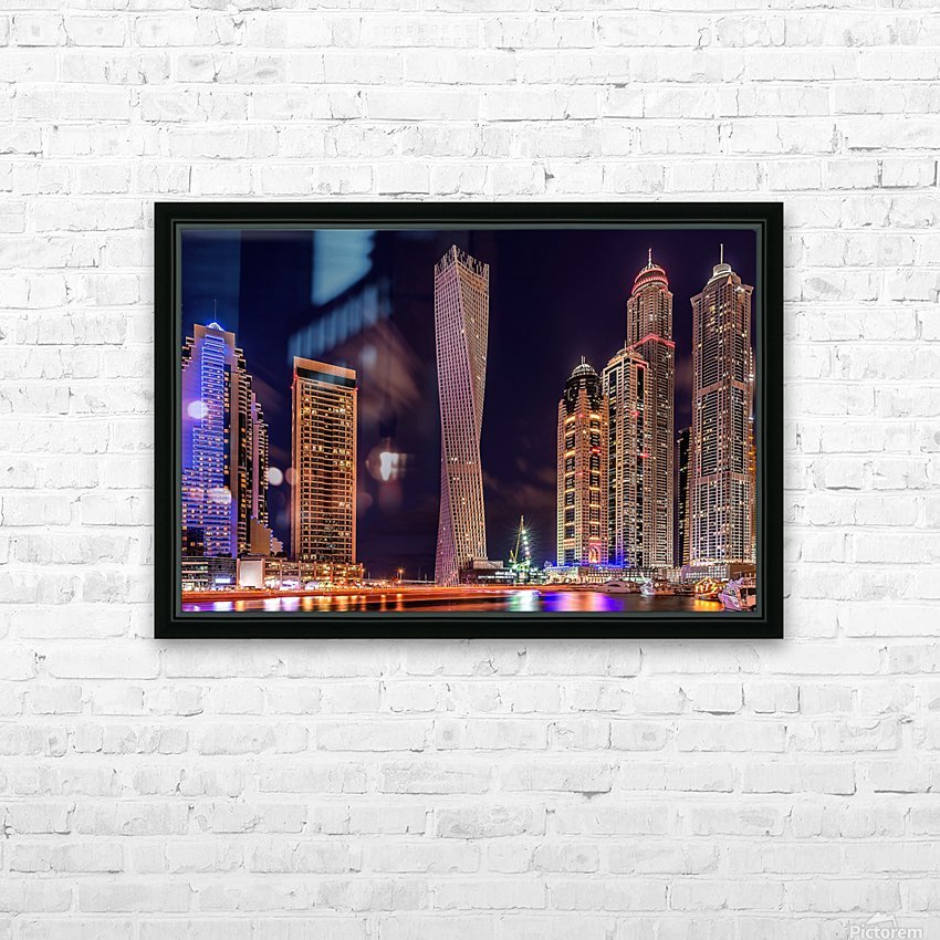 Dubai Marina Night Shot HD Sublimation Metal print with Decorating Float Frame (BOX)