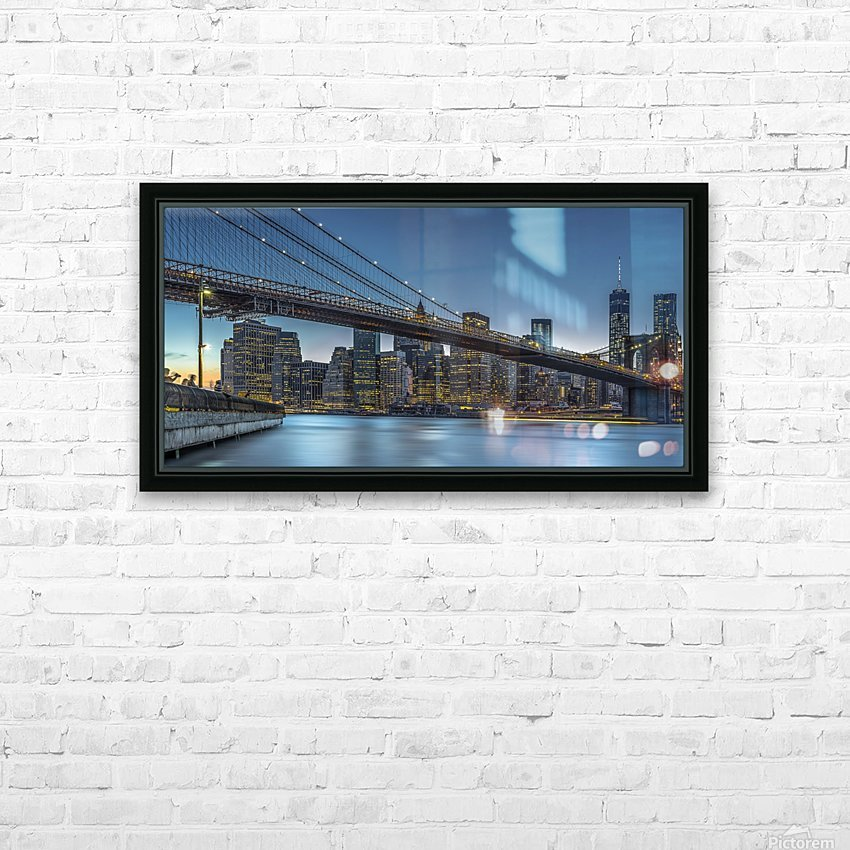 New York - Blue Hour over Manhattan HD Sublimation Metal print with Decorating Float Frame (BOX)