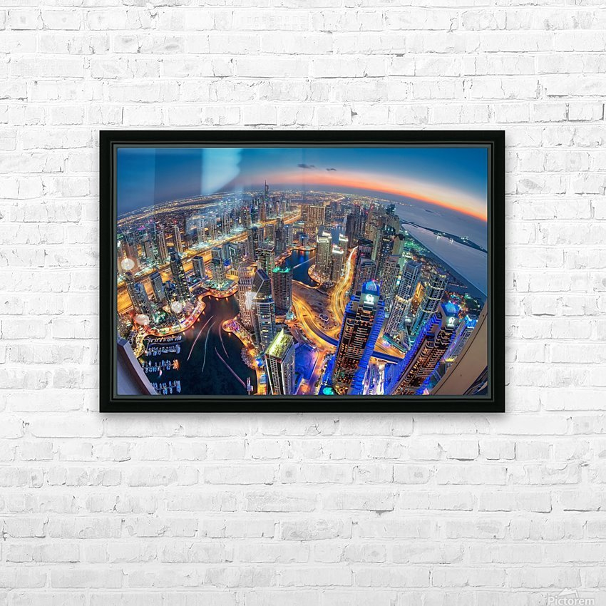 Dubai Colors of Night HD Sublimation Metal print with Decorating Float Frame (BOX)