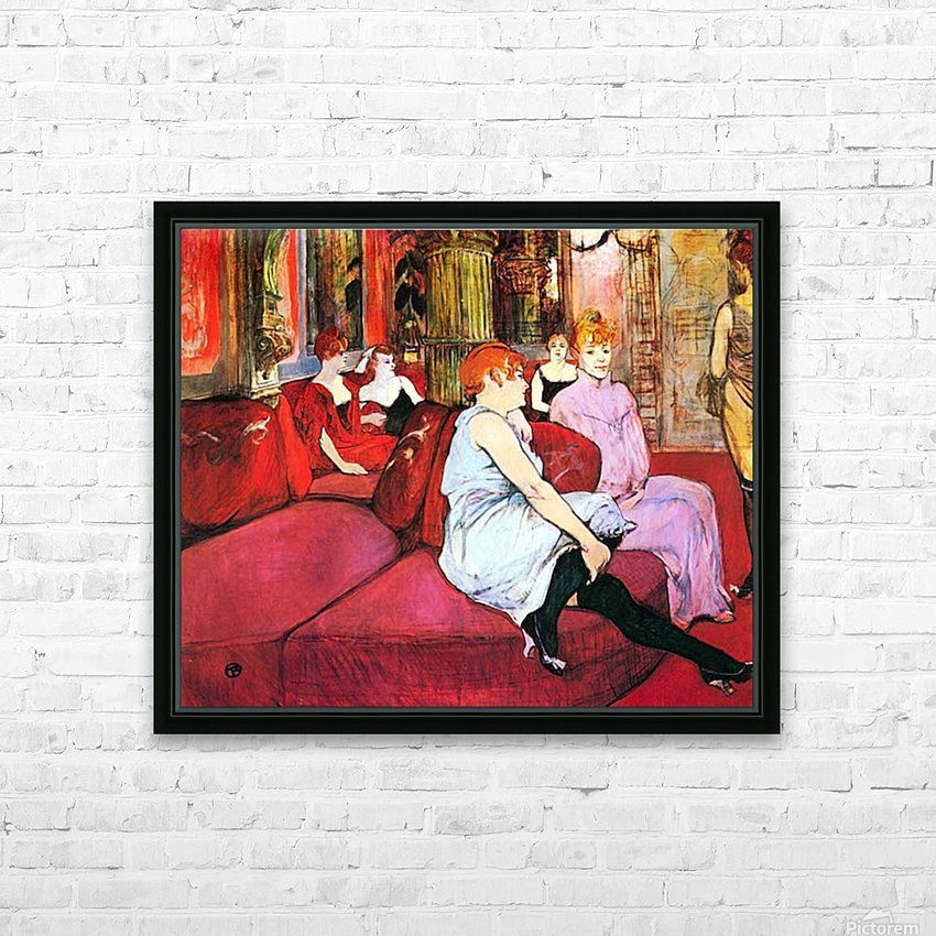 Salon in the Rue de Moulins by Toulouse-Lautrec HD Sublimation Metal print with Decorating Float Frame (BOX)