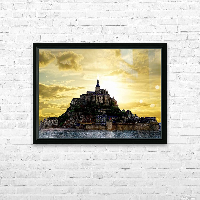 Golden Mont St Michel - Normandy France HD Sublimation Metal print with Decorating Float Frame (BOX)