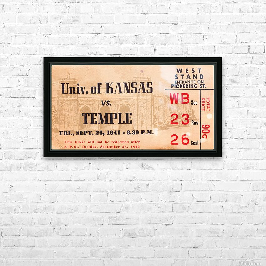 1941 Temple vs. Kansas HD Sublimation Metal print with Decorating Float Frame (BOX)