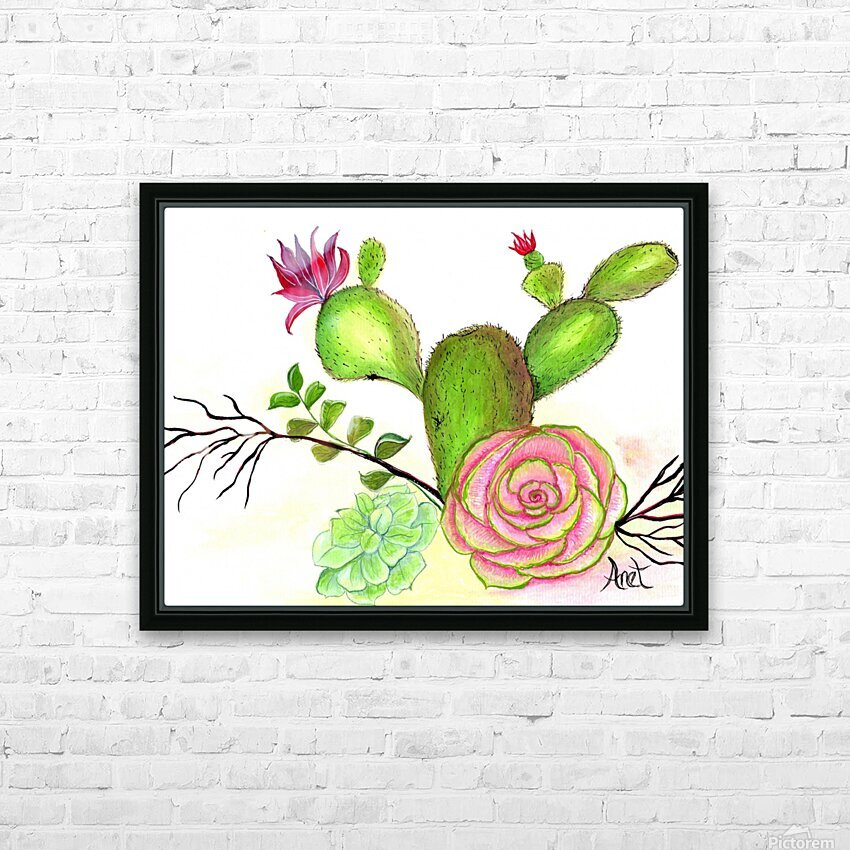 Flowering Cactus  HD Sublimation Metal print with Decorating Float Frame (BOX)