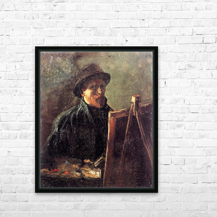 Self-Portrait with Dark Felt Hat at the Easel by Van Gogh HD Sublimation Metal print with Decorating Float Frame (BOX)