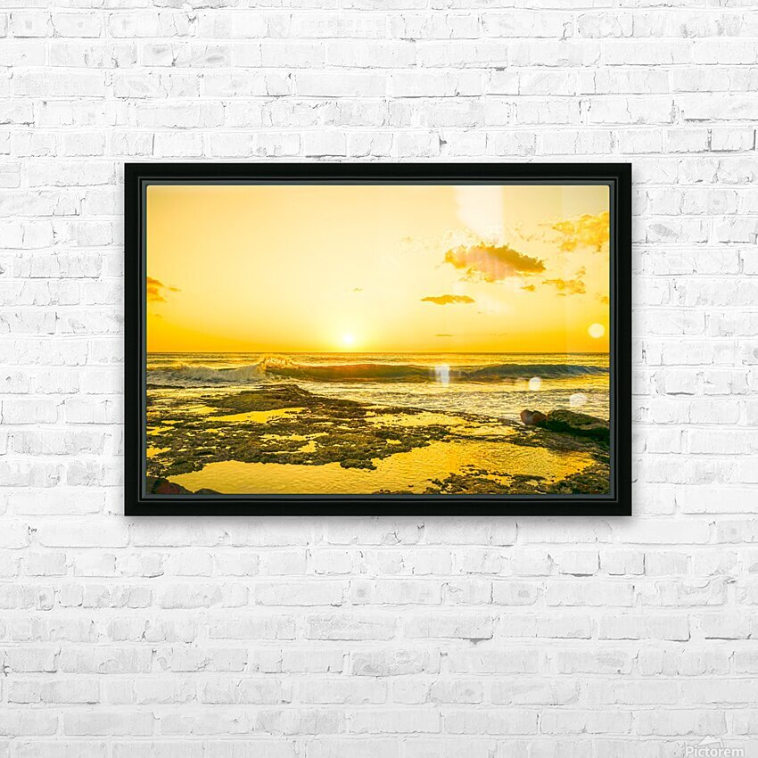Golden Moment - Sunset Hawaiian Islands HD Sublimation Metal print with Decorating Float Frame (BOX)