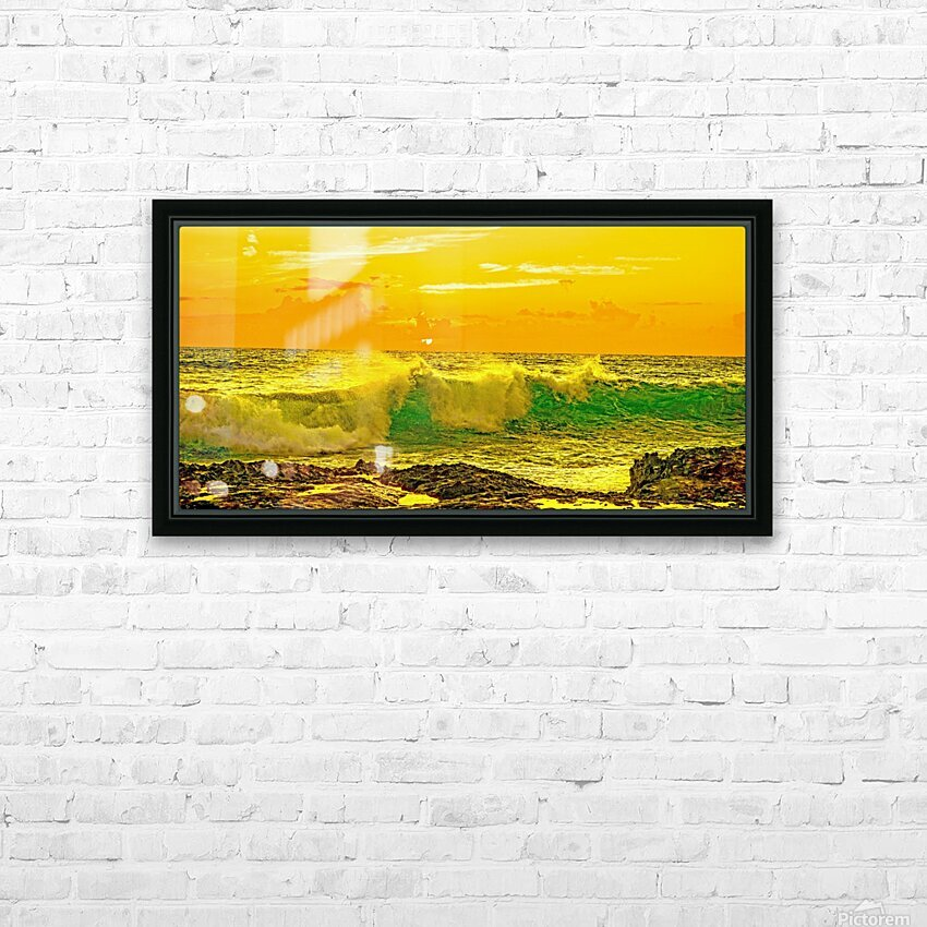 At the Sea Shore Panorama - Sunset Hawaiian Islands HD Sublimation Metal print with Decorating Float Frame (BOX)