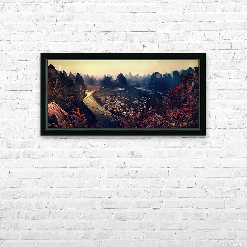 The Karst Mountains of Guangxi HD Sublimation Metal print with Decorating Float Frame (BOX)