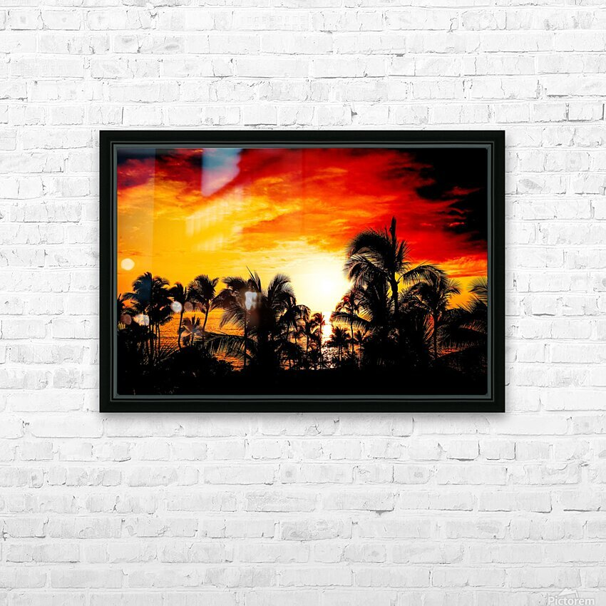 Fire in the Heavens - Sunset Hawaiian Islands HD Sublimation Metal print with Decorating Float Frame (BOX)