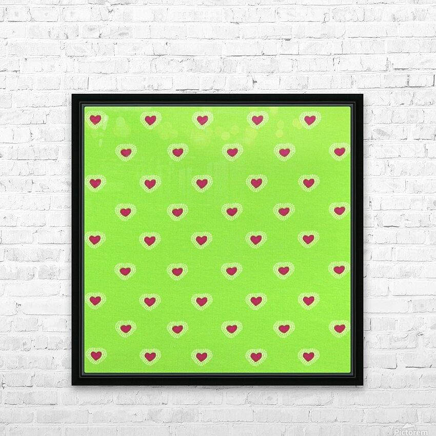 Hearts - Lime - Red HD Sublimation Metal print with Decorating Float Frame (BOX)