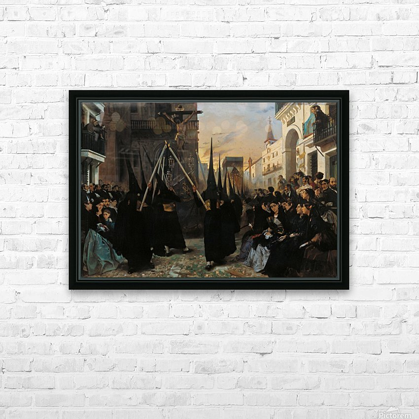 A Confraternity in Procession along Calle Genova HD Sublimation Metal print with Decorating Float Frame (BOX)