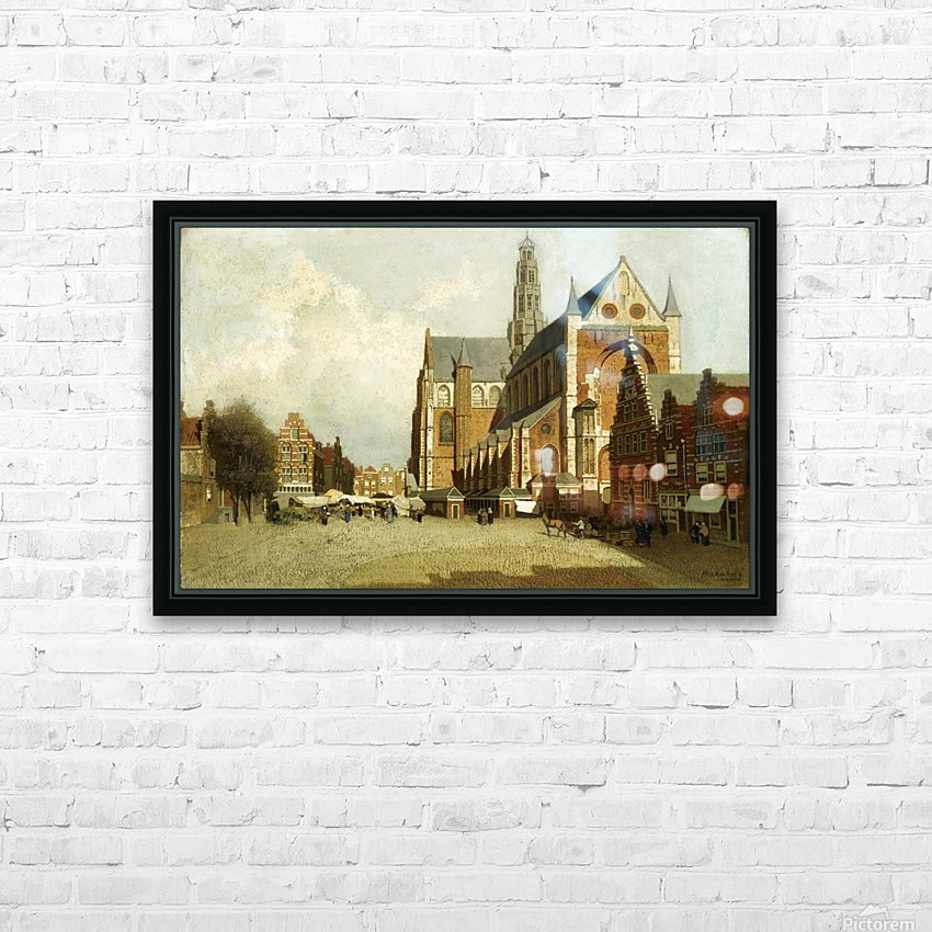 Market in Amsterdam near Saint Bavo Church HD Sublimation Metal print with Decorating Float Frame (BOX)