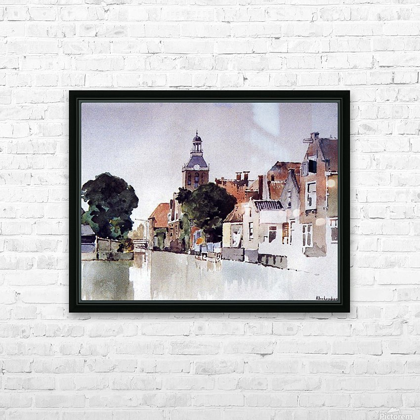 Gracht in Meppel met kerk HD Sublimation Metal print with Decorating Float Frame (BOX)