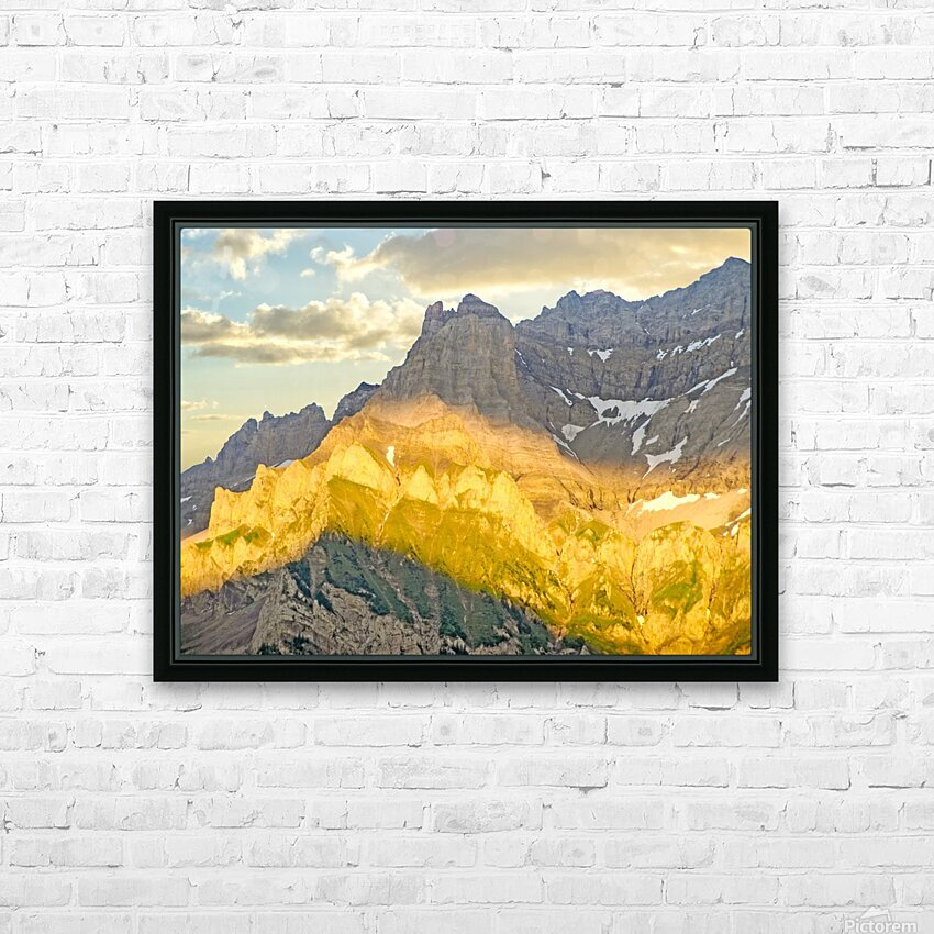 Golden Rays of the Sun Across the Swiss Alps HD Sublimation Metal print with Decorating Float Frame (BOX)