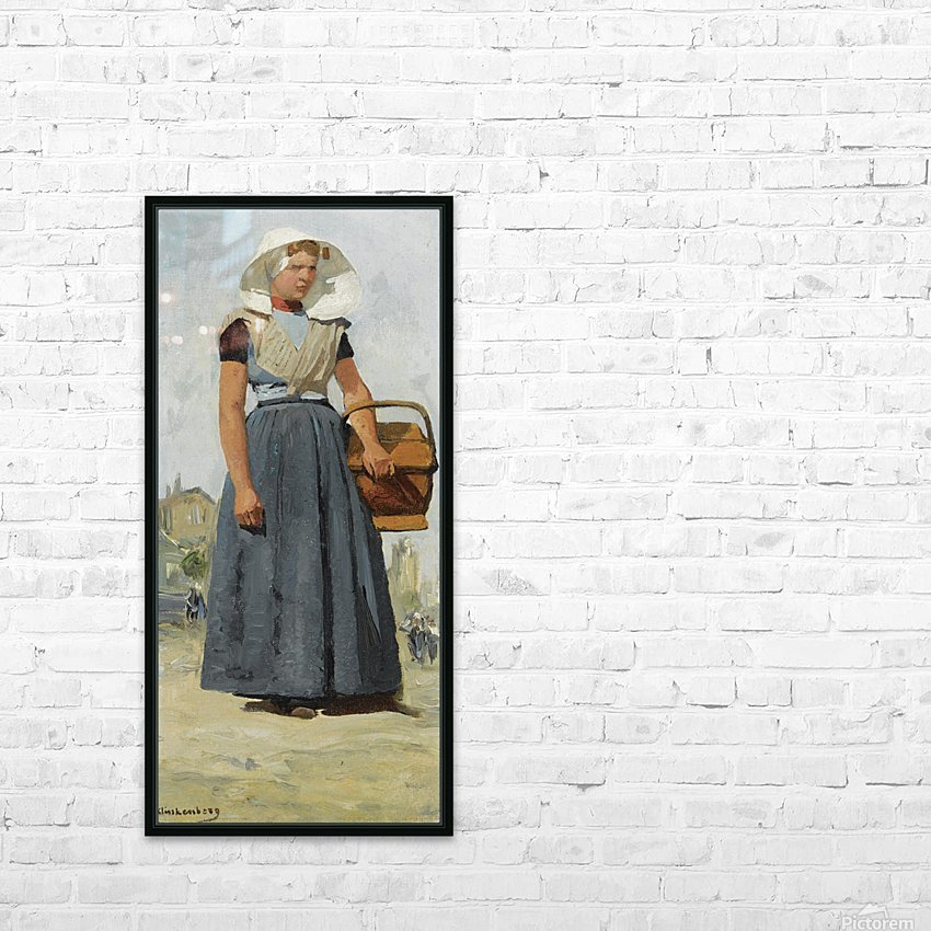 An Arnemuiden Fisherwoman HD Sublimation Metal print with Decorating Float Frame (BOX)