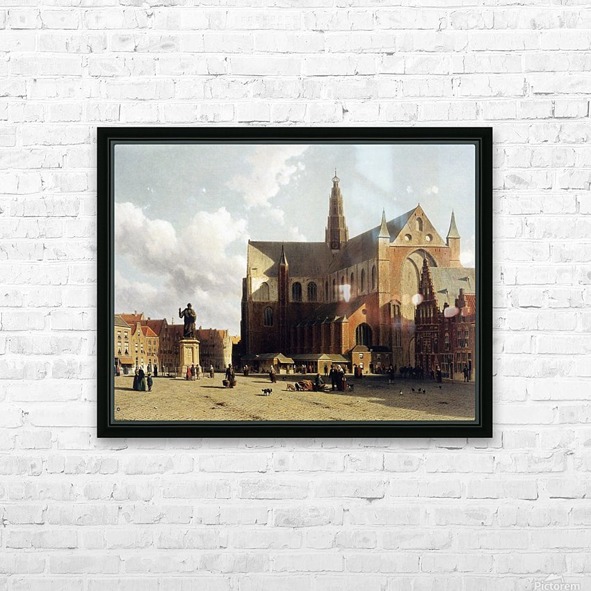 View of the Grote Markt, Haarlem, with numerous townsfolk strolling along the statue of Laurens Jansz HD Sublimation Metal print with Decorating Float Frame (BOX)