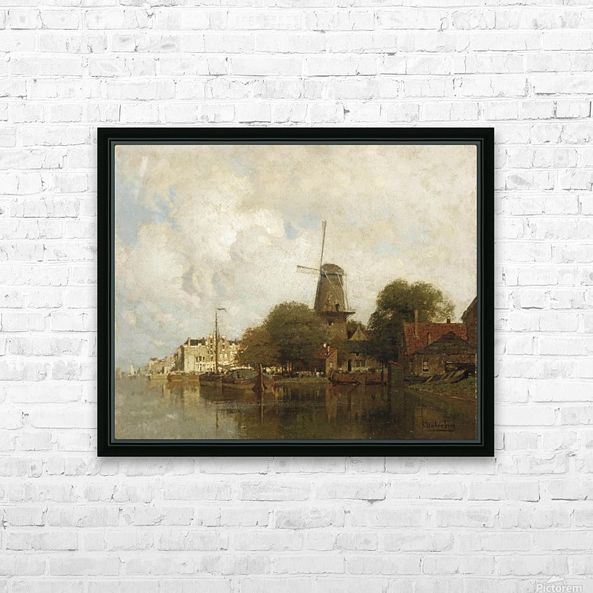A windmill along the river Amstel, Amsterdam HD Sublimation Metal print with Decorating Float Frame (BOX)