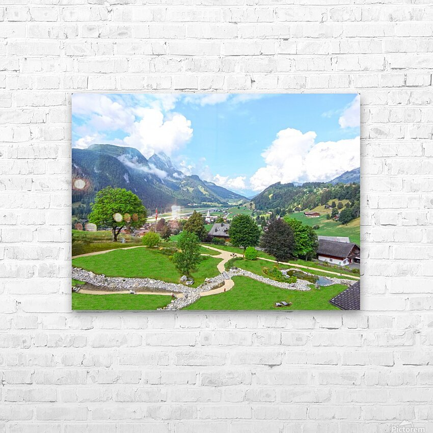 The  Saane valley in Switzerland Surrounded by the Alps HD Sublimation Metal print with Decorating Float Frame (BOX)