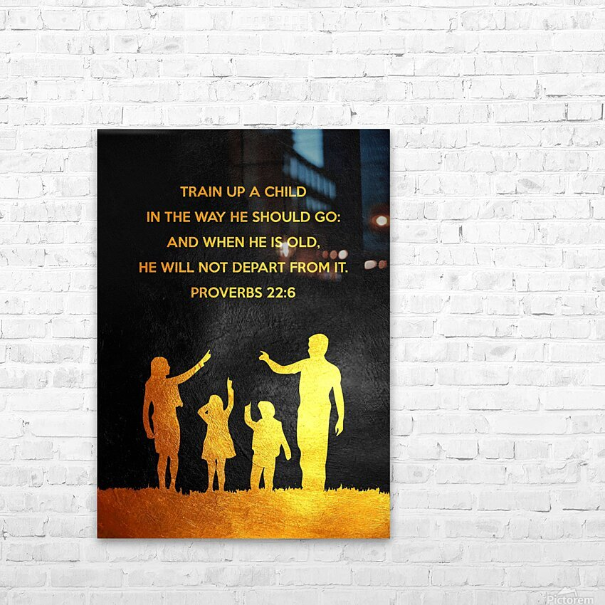 Proverbs 22:6 Bible Verse Wall Art HD Sublimation Metal print with Decorating Float Frame (BOX)