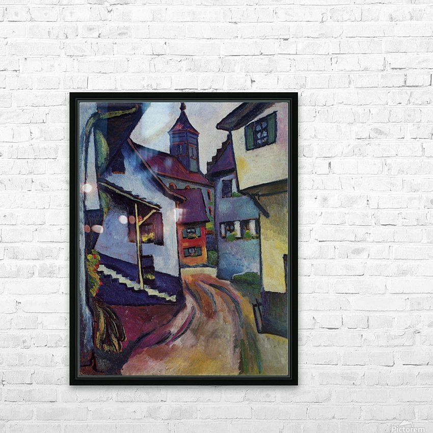 Street with a church in Kandern by Macke HD Sublimation Metal print with Decorating Float Frame (BOX)