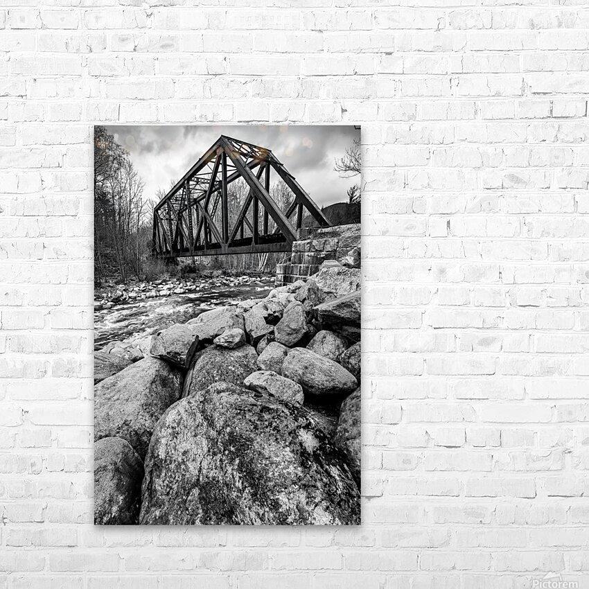 Train Bridge ap 2225 B&W HD Sublimation Metal print with Decorating Float Frame (BOX)