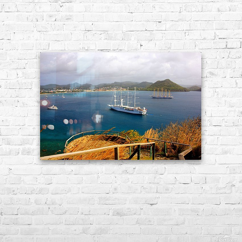 Tall ships at anchor Rodney Bay Landscape HD Sublimation Metal print with Decorating Float Frame (BOX)