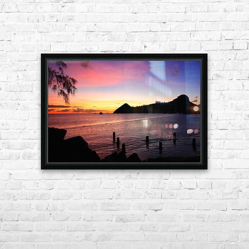 Sunset looking at Pigeon Island HD Sublimation Metal print with Decorating Float Frame (BOX)