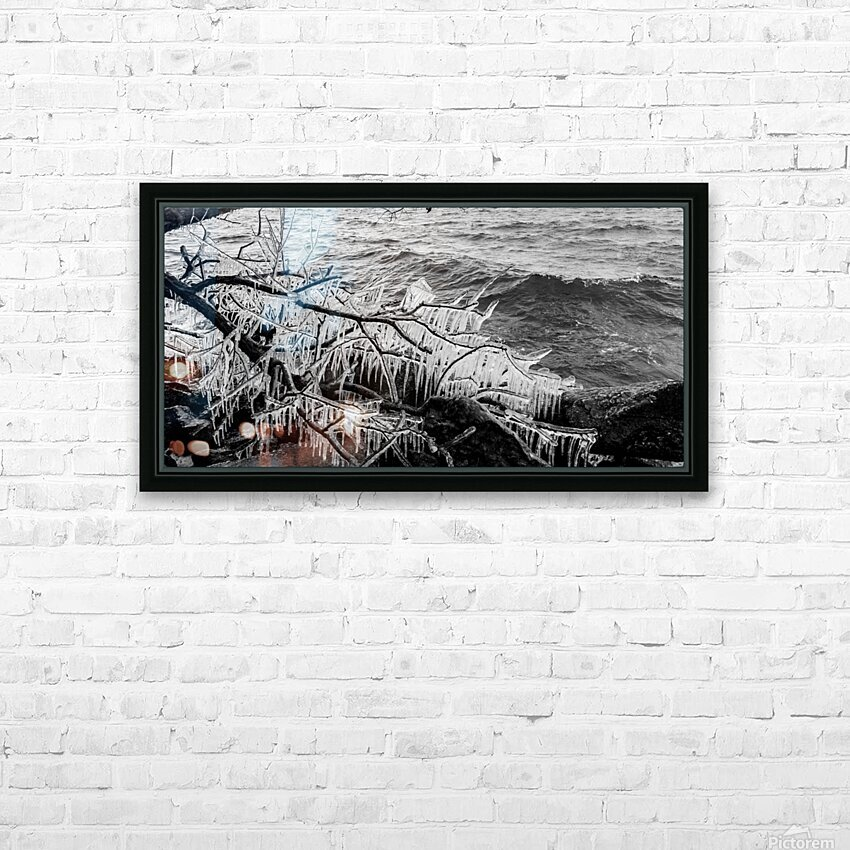 Splash Icicles ap 2147 B&W HD Sublimation Metal print with Decorating Float Frame (BOX)