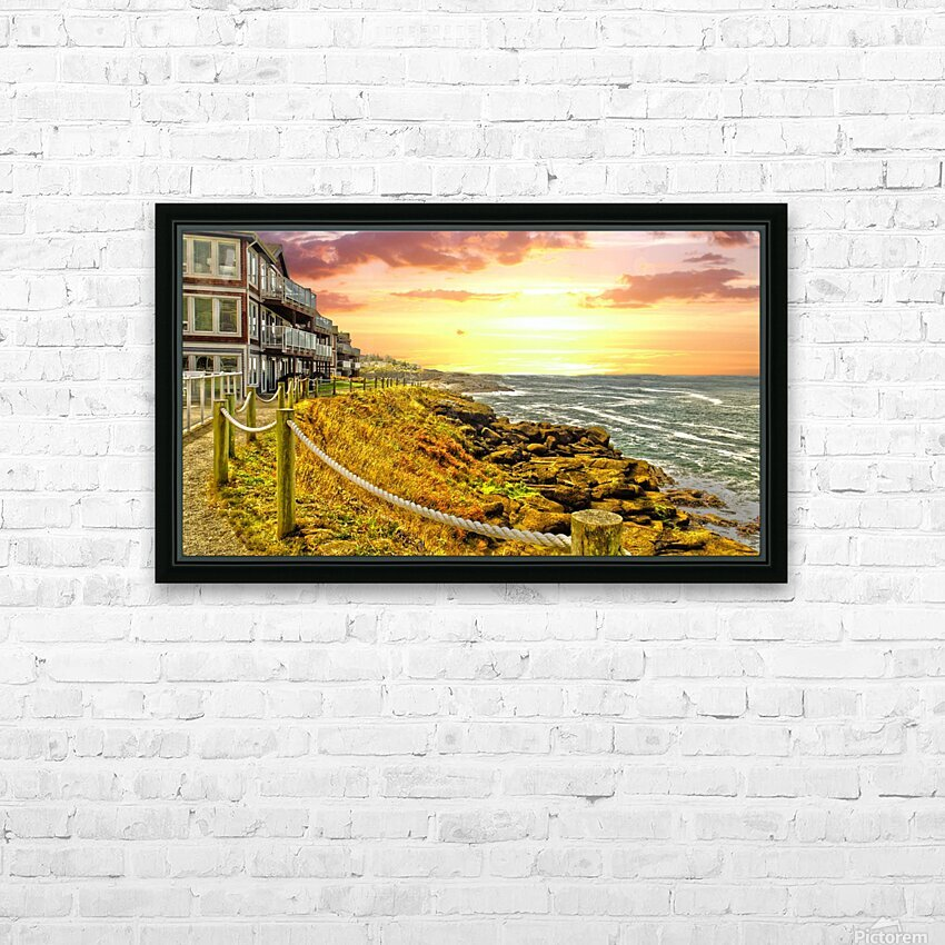 Depoe Bay On the Oregon Coast - Art Style HD Sublimation Metal print with Decorating Float Frame (BOX)