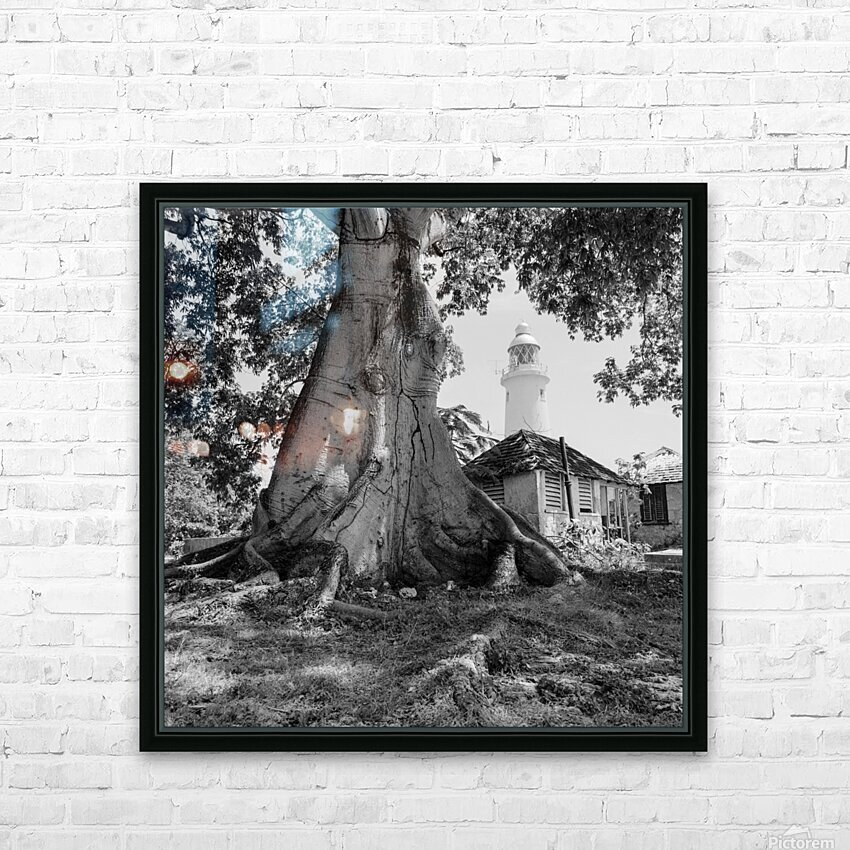 Negril Lighthouse ap 1516 B&W HD Sublimation Metal print with Decorating Float Frame (BOX)