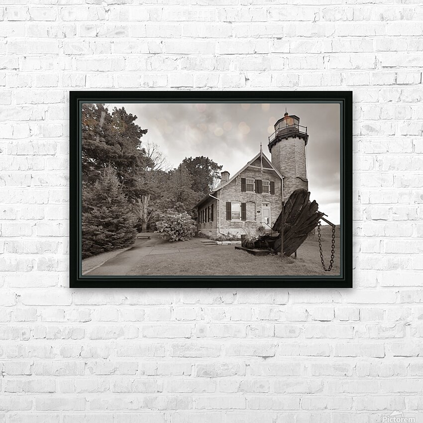White River Light ap 2449 B&W HD Sublimation Metal print with Decorating Float Frame (BOX)