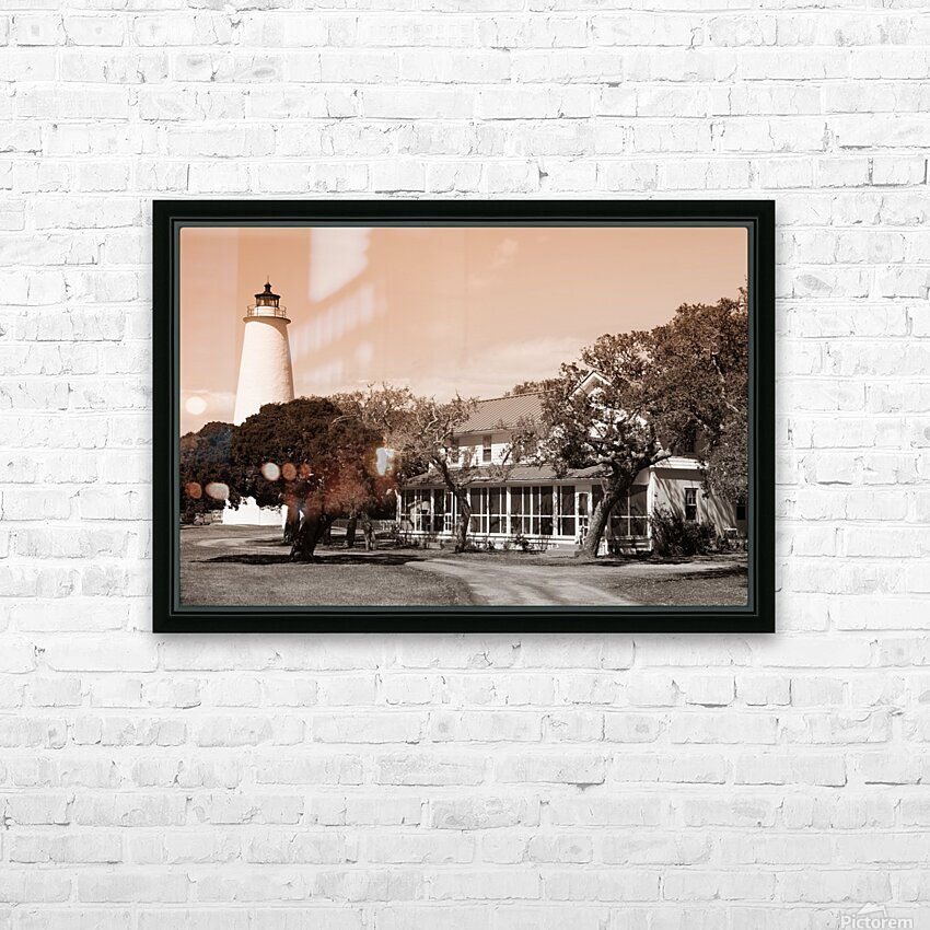 Ocracoke Light ap 1743 B&W HD Sublimation Metal print with Decorating Float Frame (BOX)