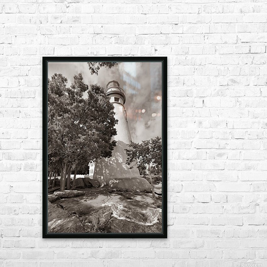 Marblehead Lighthouse ap 2400 B&W HD Sublimation Metal print with Decorating Float Frame (BOX)