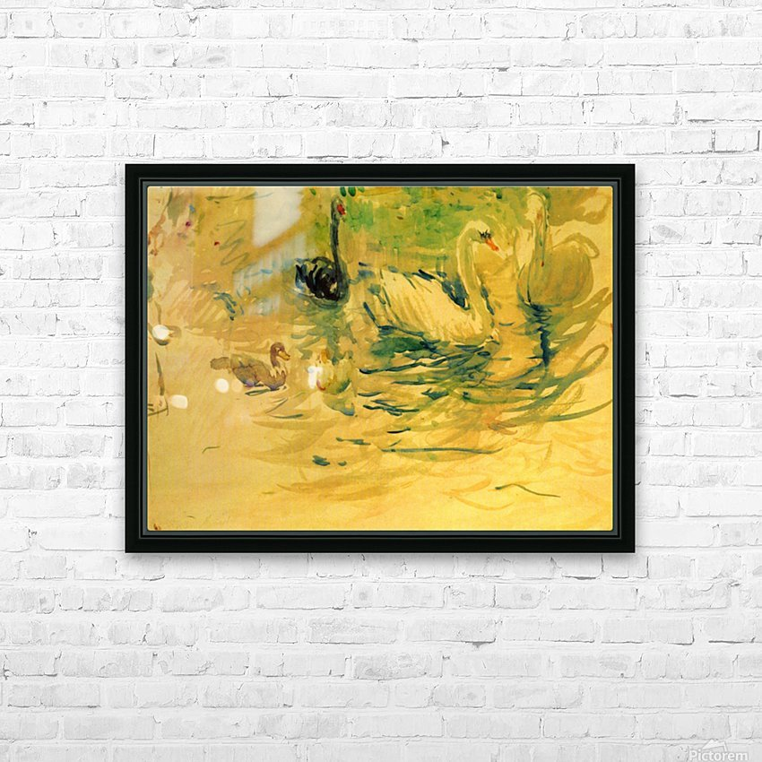 Swans by Morisot HD Sublimation Metal print with Decorating Float Frame (BOX)