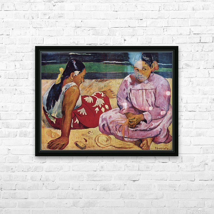 Tahitian Women on Beach by Gauguin HD Sublimation Metal print with Decorating Float Frame (BOX)