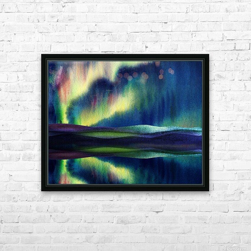 Aurora Borealis Magic Reflections Northern Lake Lights Watercolor HD Sublimation Metal print with Decorating Float Frame (BOX)