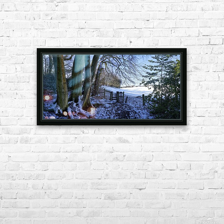 Woods in the Snow HD Sublimation Metal print with Decorating Float Frame (BOX)